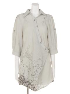 裾プリントロールアップシャツOP7分袖