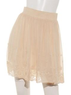 スカラップ刺繍ショートスカート