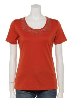 胸元ラインストーン付半袖Tシャツ
