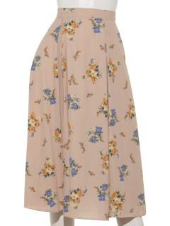 Oクラシカルブーケパッチプリーツスカート