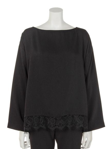 Penna Felice (ペンナフェリーチェ) 裾レースブラウス ブラック