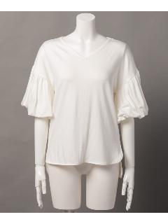 バルーンスリーブ裾前後差Tシャツ