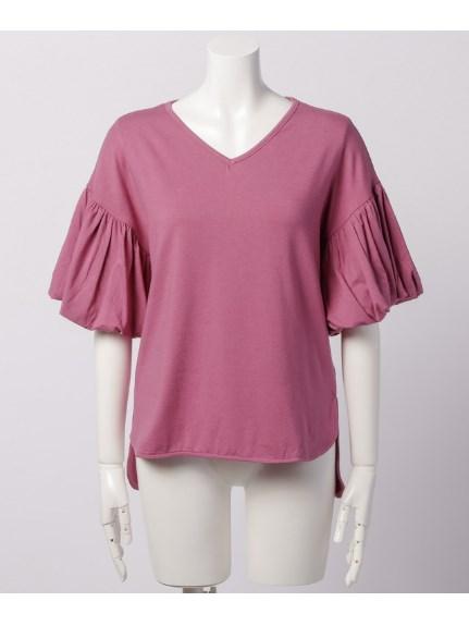 Sugar Rose (シュガーローズ) バルーンスリーブ裾前後差Tシャツ ピンク