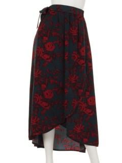 リボンベルト付花柄スカート