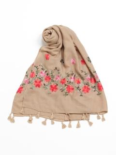 フリンジ付き花刺繍ストール