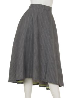 配色パイピングフレアースカート