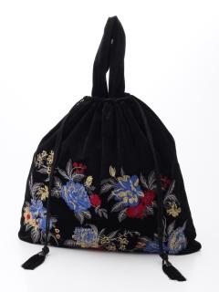 花刺繍巾着バッグ