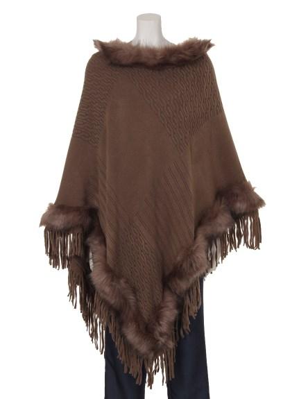 70%OFF aurea (アウレア) 裾フリンジ付きポンチョ ブラウン