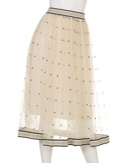 水玉チュールスカート
