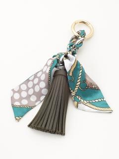 水玉スカーフ付きタッセルキーホルダー