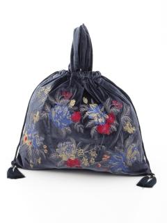 リバーシブル花刺繍ベロアバック
