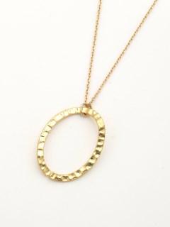 変形オーバルゴールドネックレス
