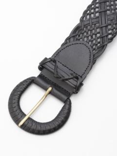 シャープ編み込みワイドベルト
