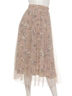 花柄×チュールロングスカート