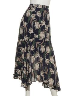 レトロ花柄ロングスカート