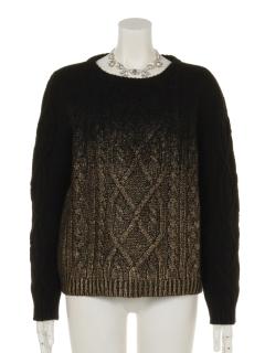 【Arielme】AMネックレス付き箔プリントセーター