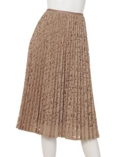 【Rejoove】モールフラワーレースのプリーツスカート