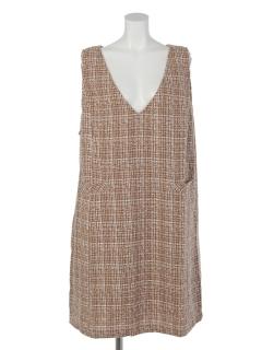 【Ange dodu】シャンブレーツイードスタイリッシュジャンパースカート