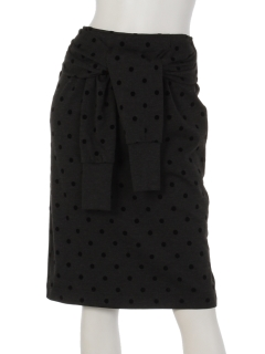 【arielme】腰巻き付きフロッキープリントのドットスカート