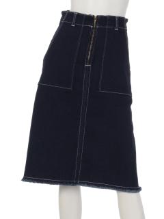 【MALIANI】オシャレガールセレクトの裾フリンジデニムスカート