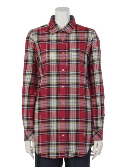 MALIANI (マリアーニ) 【Tricott Muge】TMロングチェックシャツ ピンク