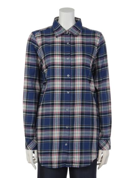 MALIANI (マリアーニ) 【Tricott Muge】TMロングチェックシャツ ターコイズ