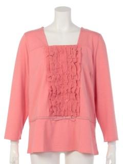 【Maliani Pink】シフォンフリルの8分袖カットソー