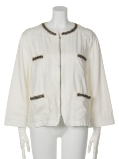 輝くビジューのデコレーションデニムジャケット