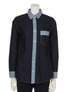 【Rejoove】RJVパッチワーク配色のデニムシャツ