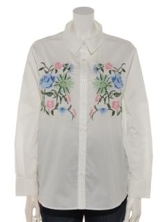【Tricott Muge】刺繍入りベーシックシャツ