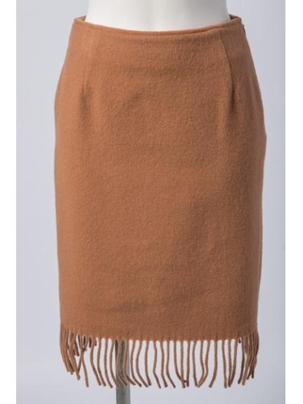 Chez toi (シェトワ) フリンジタイトスカート キャメル