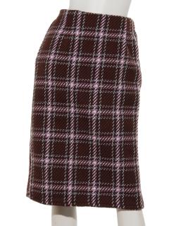 ・フェイクツイードチェックタイトスカート