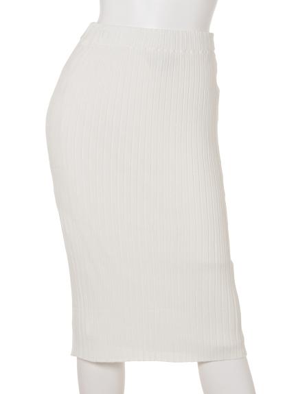 COLONY 2139 (コロニートゥーワンスリーナイン) ・Vis/Nyワイドリブタイトスカート ホワイト