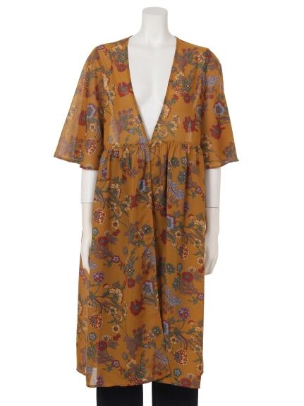 COLONY 2139 (コロニートゥーワンスリーナイン) ・エステルボイルワッシャー花柄半袖ロングガウン マスタード