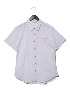 ・パナマ織リボーダー半袖シャツ