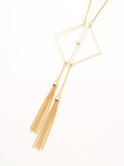 ear PAPILLONNER (イヤーパピヨネ) 菱型タッセルネックレス ゴールド