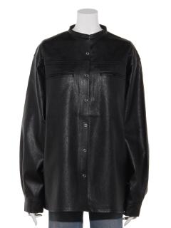フェイクレザーシャツジャケット