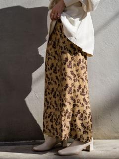 配色花柄Iラインスカート