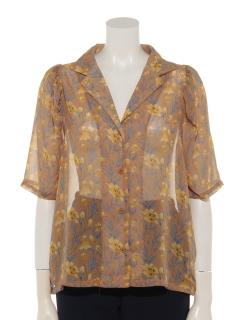・花柄開衿シャツ