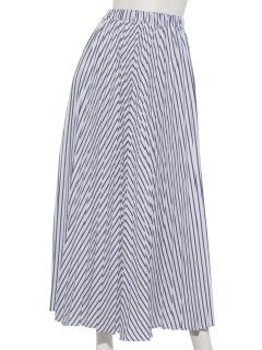 ストライププリーツロングスカート