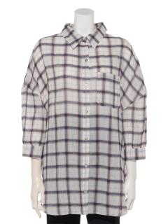 チェック5分袖BIGシャツ