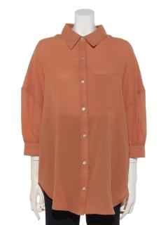 ワッシャー5分袖BIGシャツ