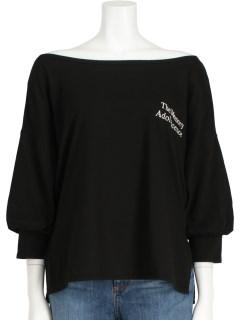 胸刺繍5分袖オフショルロンT