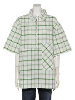 ハーフジップ半袖シャツ
