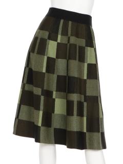 ブロック柄フレアースカート
