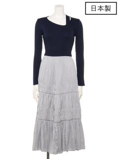 【日本製】ヴィンテージサテンシャーリングスカート切替アシメオープンショルダーワンピース