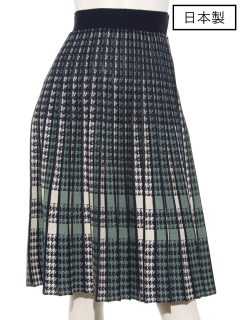 【日本製】千鳥ブロック柄スカート