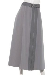 フロントファスナー配色スカート