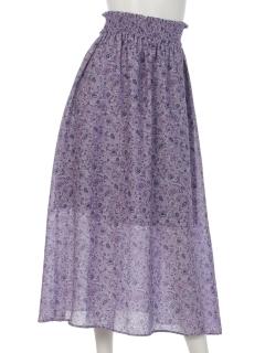 エスニック柄シャーリングスカート