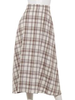綿テンセルチェックロングフレアスカート